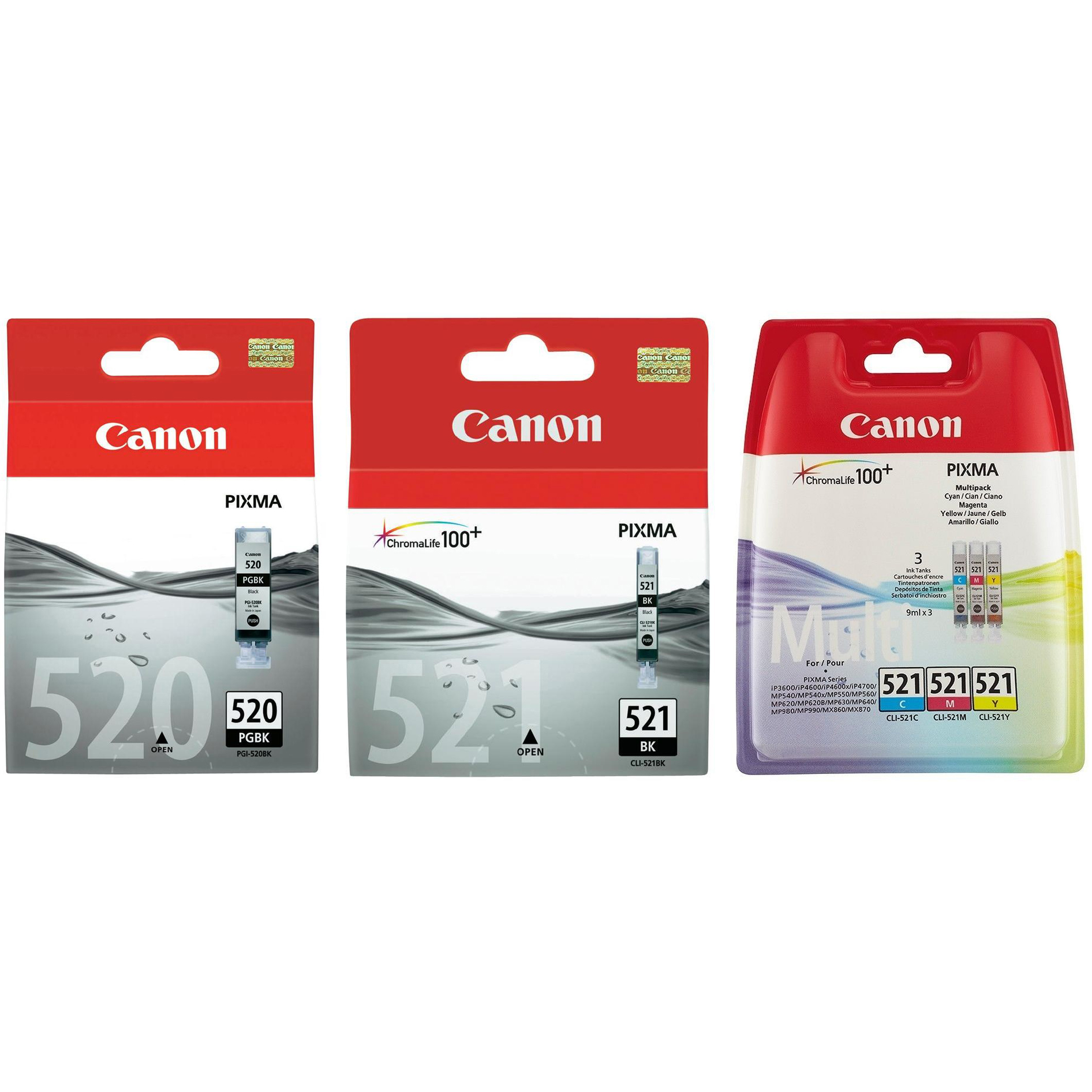 Original Canon PGI-520BK / CLI-521 C, M, Y, K Multipack Ink Cartridges (2932B001/ 2933B001/ 2934B010)