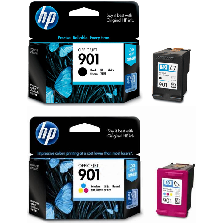 Original HP 901 Black & Colour Combo Pack Ink Cartridges (CC653A & CC656A)