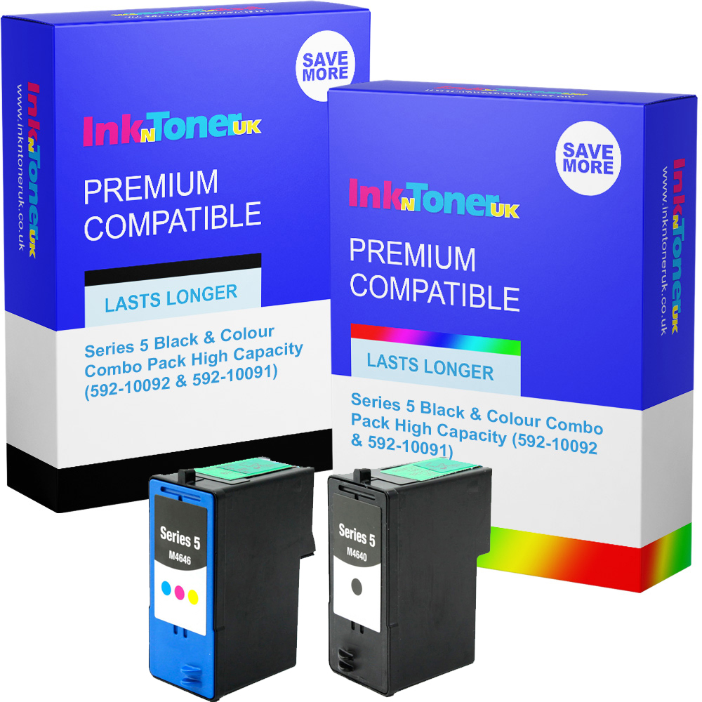 Premium Remanufactured Dell Series 5 Black & Colour Combo Pack High Capacity Ink Cartridges (592-10092 & 592-10091)