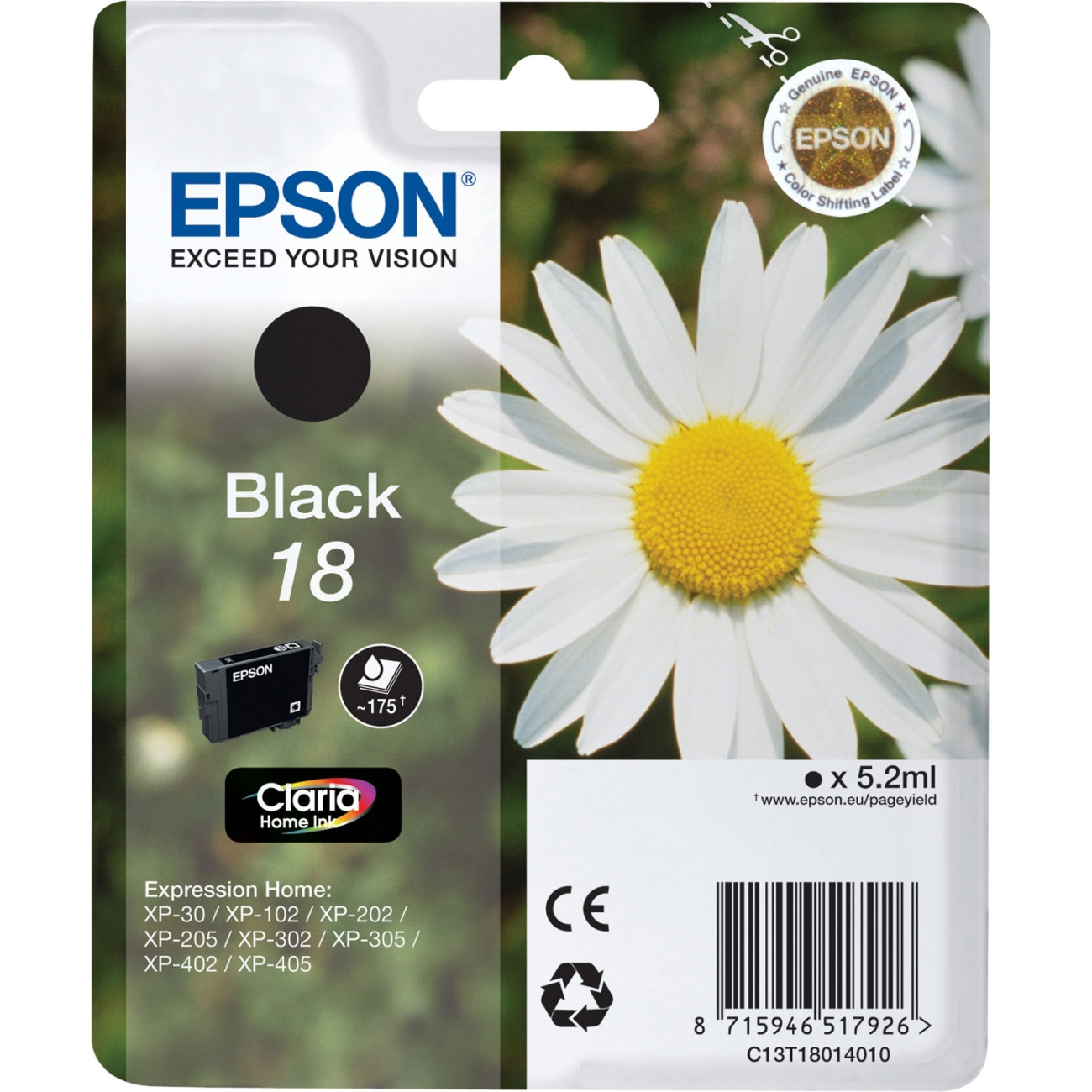 Original Epson 18 Black Ink Cartridge (C13T18014010)
