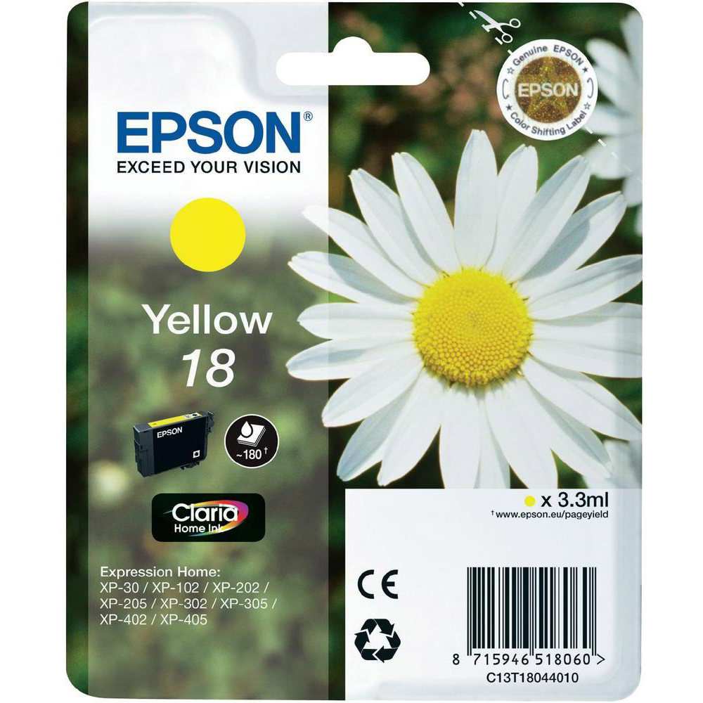 Original Epson 18 Yellow Ink Cartridge (C13T18044010)