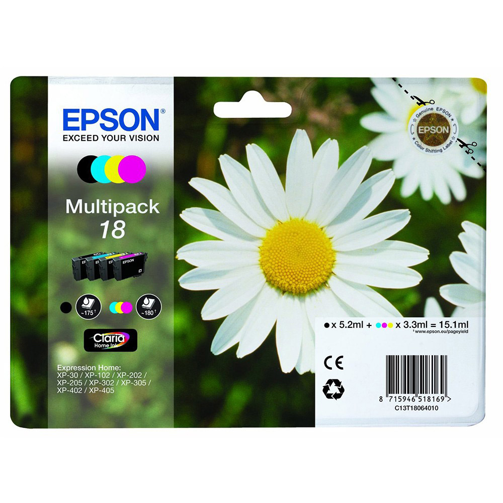 Original Epson 18 CMYK Multipack Ink Cartridges (C13T18064010)