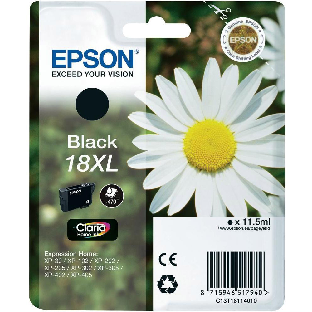Original Epson 18XL Black High Capacity Ink Cartridge (C13T18114010)