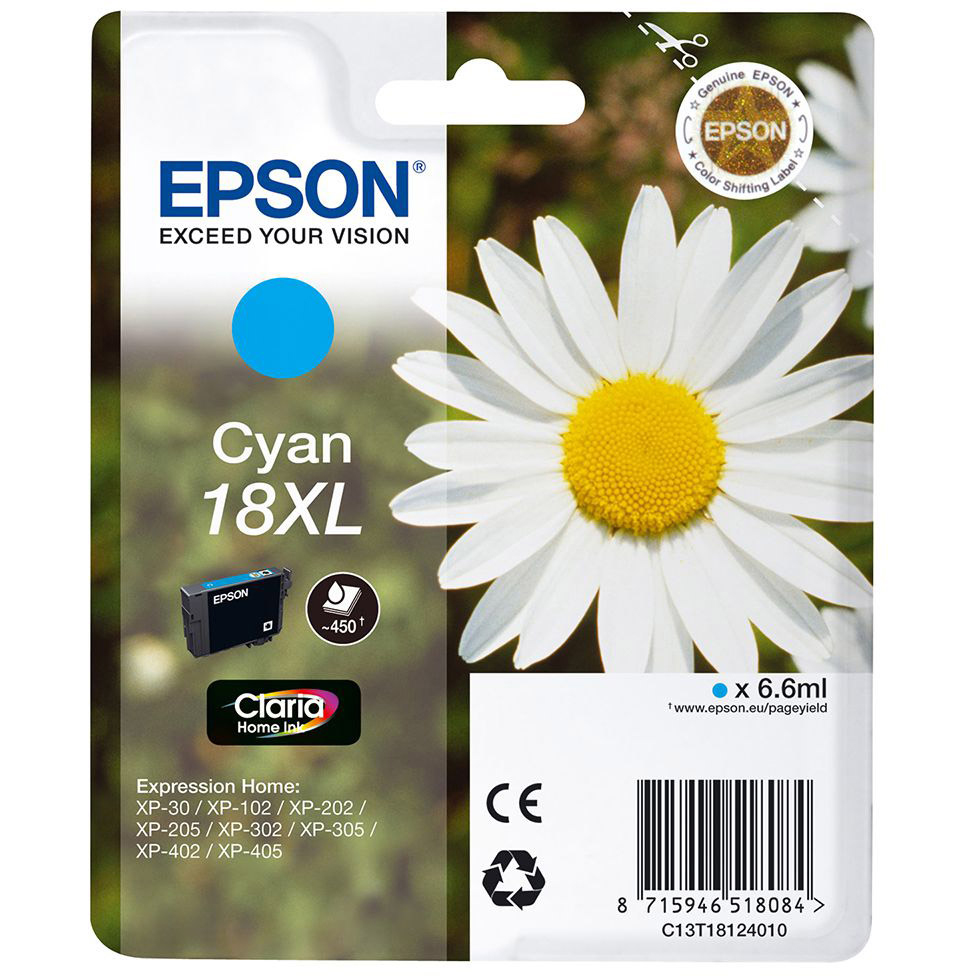 Original Epson 18XL Cyan High Capacity Ink Cartridge (C13T18124010)