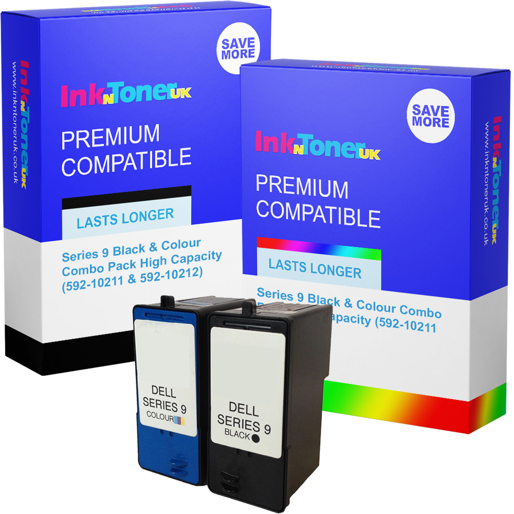 Premium Remanufactured Dell Series 9 Black & Colour Combo Pack High Capacity Ink Cartridges (592-10211 & 592-10212)