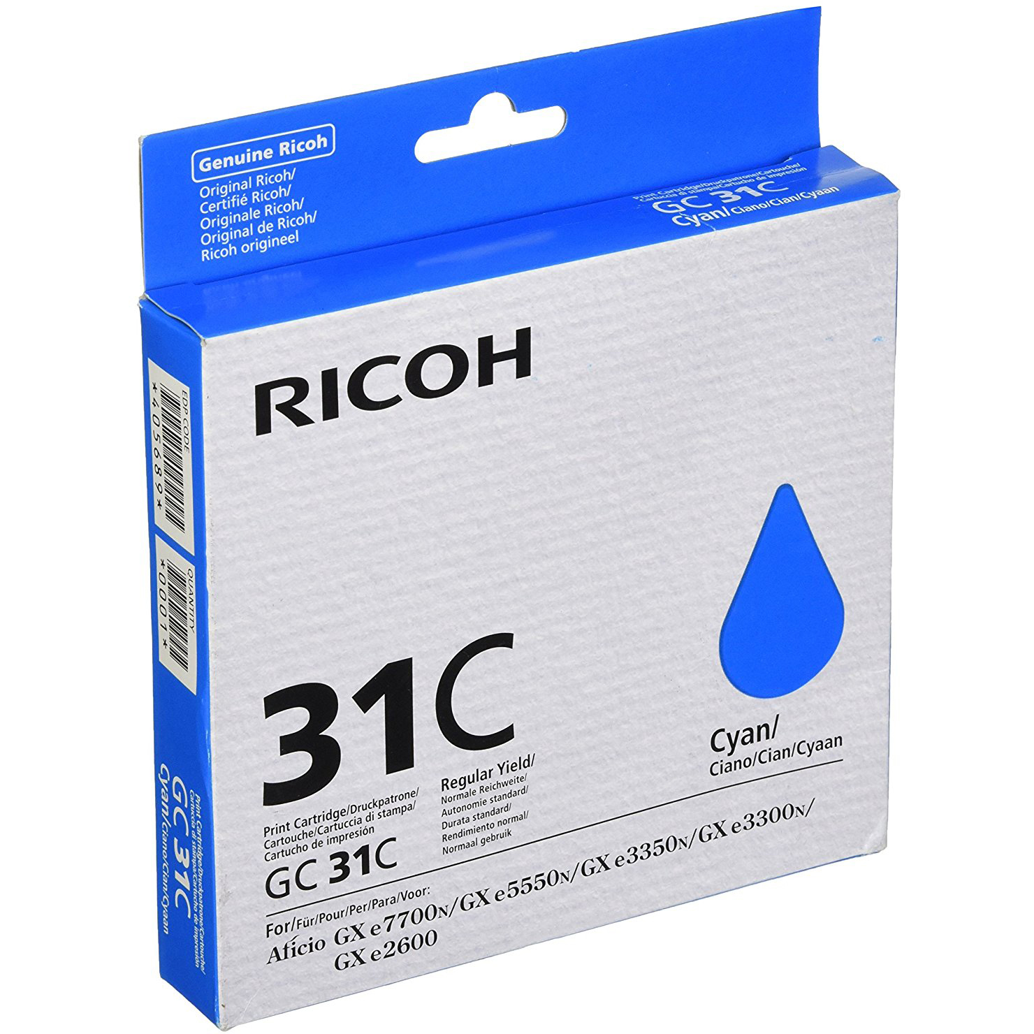 Original Ricoh GC31C Cyan Gel Ink Cartridge (405693)