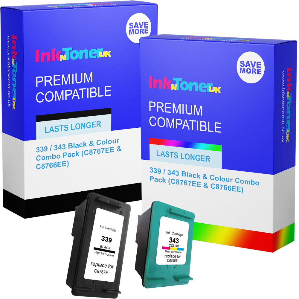 Premium Remanufactured HP 339 / 343 Black & Colour Combo Pack Ink Cartridges (C8767EE & C8766EE)