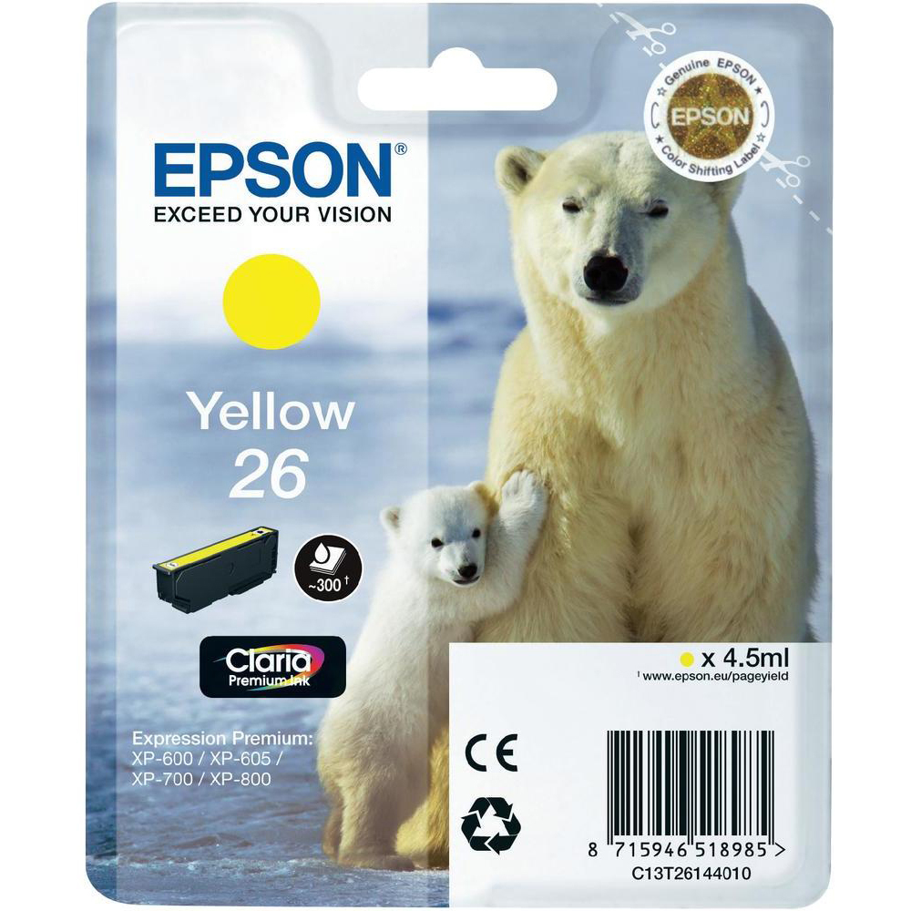 Original Epson 26 Yellow Ink Cartridge (C13T26144010)