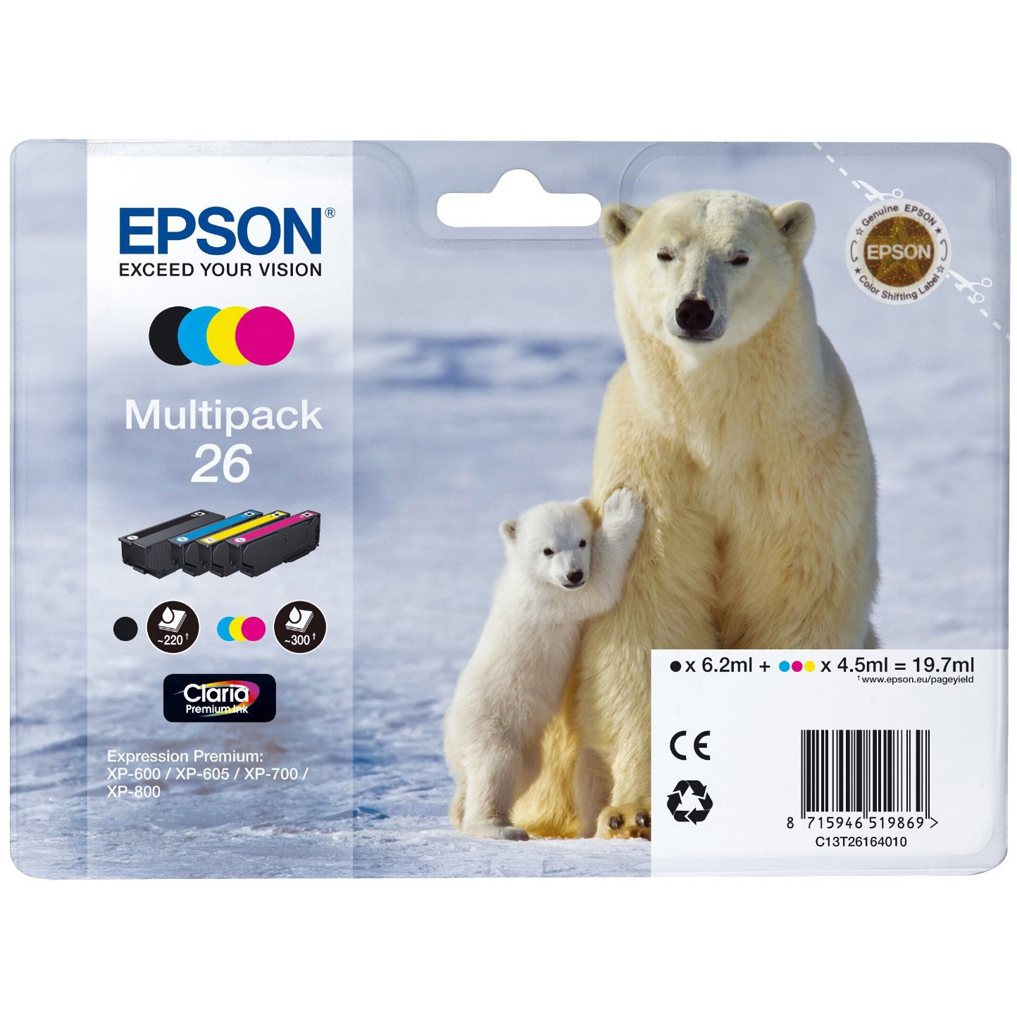 Original Epson 26 CMYK Multipack Ink Cartridges (C13T26164010)