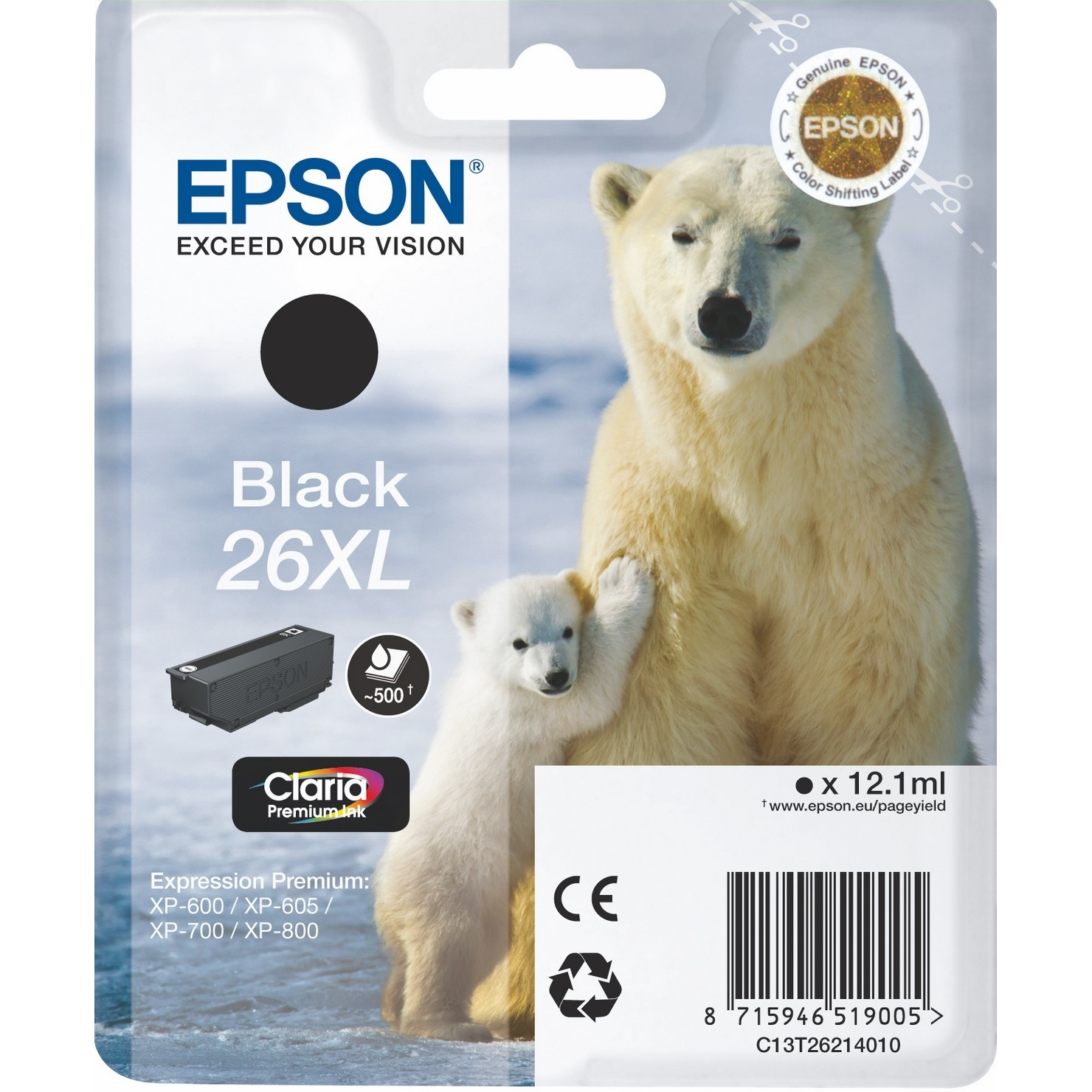 Original Epson 26XL Black High Capacity Ink Cartridge (C13T26214010)