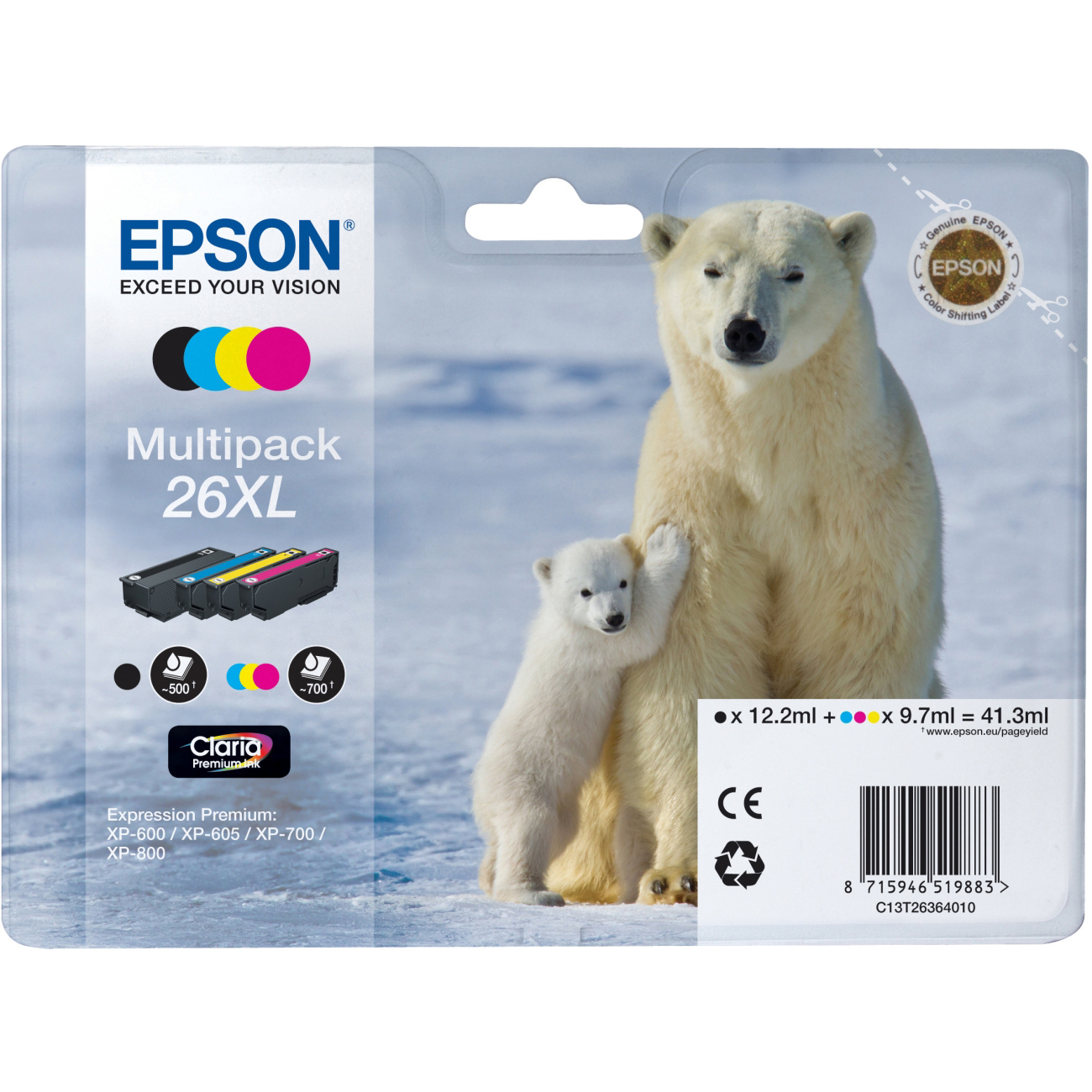 Original Epson 26XL CMYK Multipack High Capacity Ink Cartridges (C13T26364010)