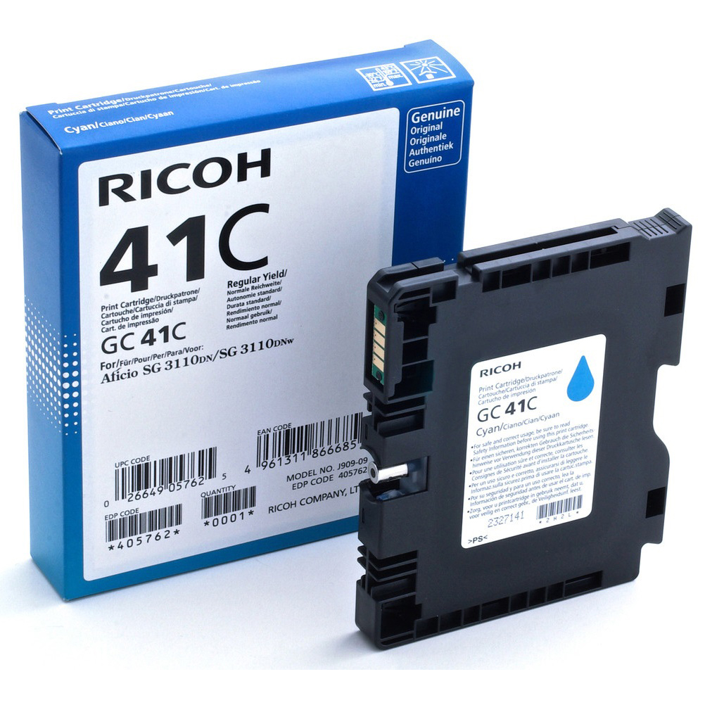 Original Ricoh GC41C High Capacity Cyan Gel Ink Cartridge (405762)