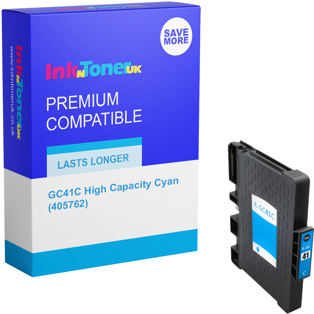 Premium Compatible Ricoh GC41C High Capacity Cyan Gel Ink Cartridge (405762)