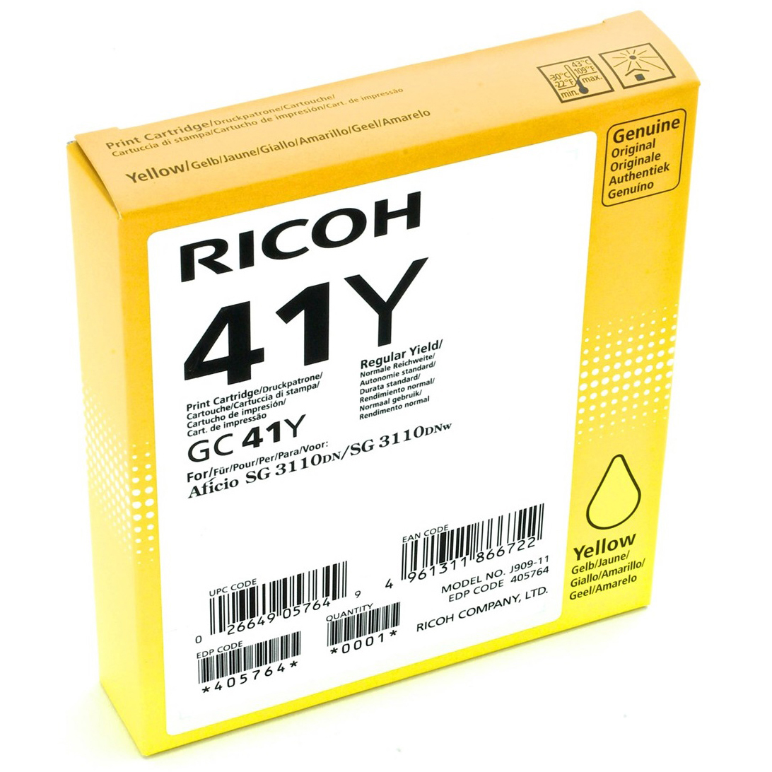 Original Ricoh GC41Y Yellow High Capacity Gel Ink Cartridge (405764)