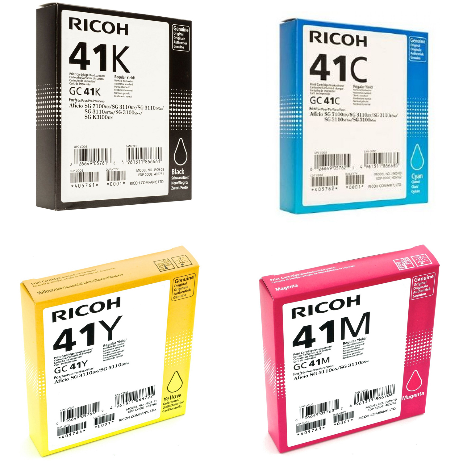 Original Ricoh GC41 CMYK Multipack High Capacity Gel Ink Cartridges (405761 / 405762 / 405763 / 405764)