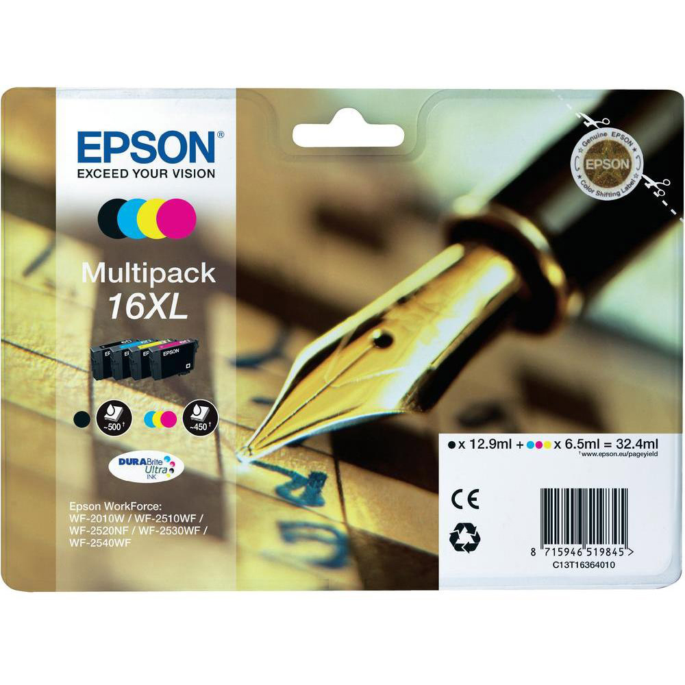 Original Epson 16XL CMYK Multipack High Capacity Ink Cartridges (C13T16364010)