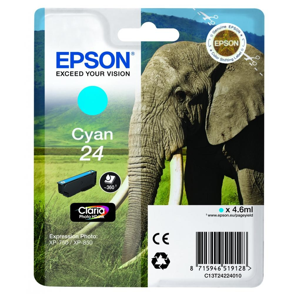 Original Epson 24 Cyan Ink Cartridge (C13T24224010)