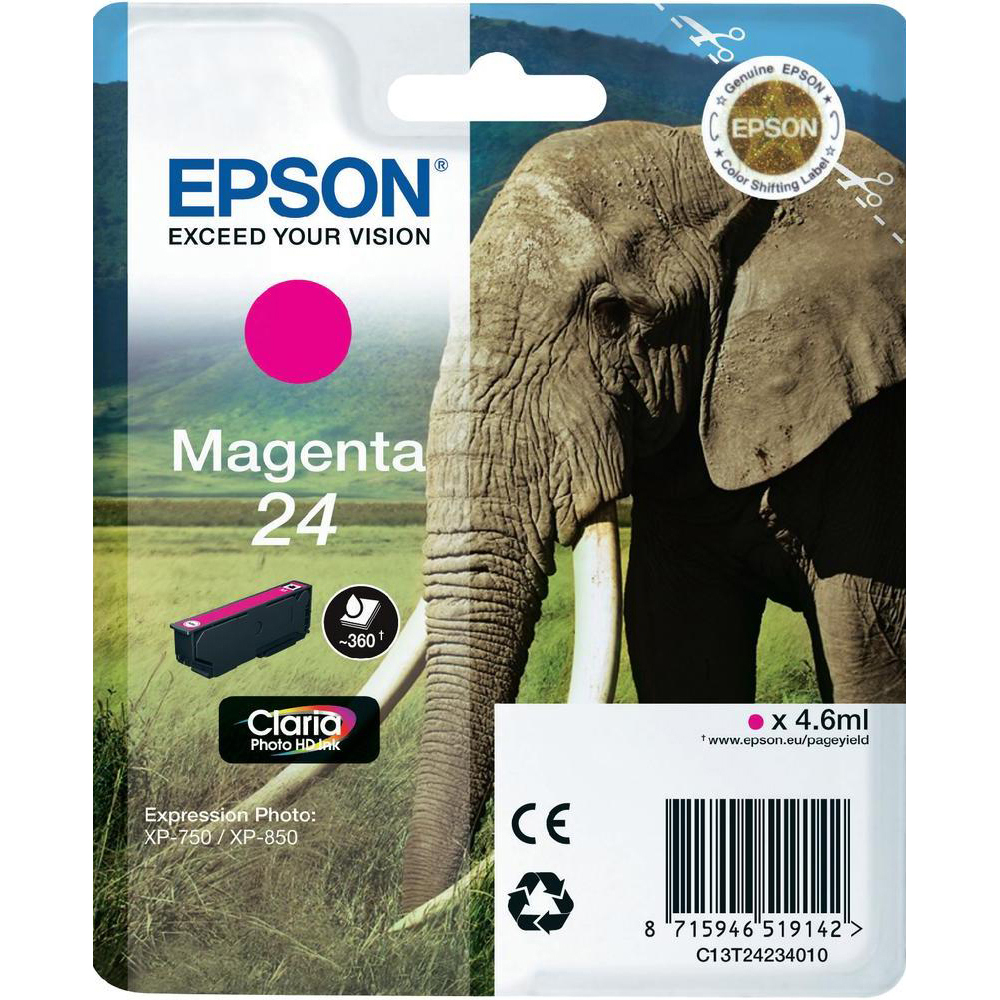 Original Epson 24 Magenta Ink Cartridge (C13T24234010)