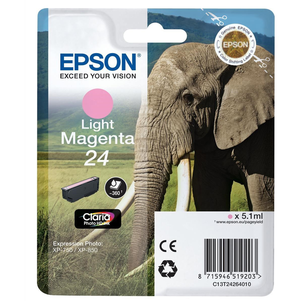 Original Epson 24 Light Magenta Ink Cartridge (C13T24264010)