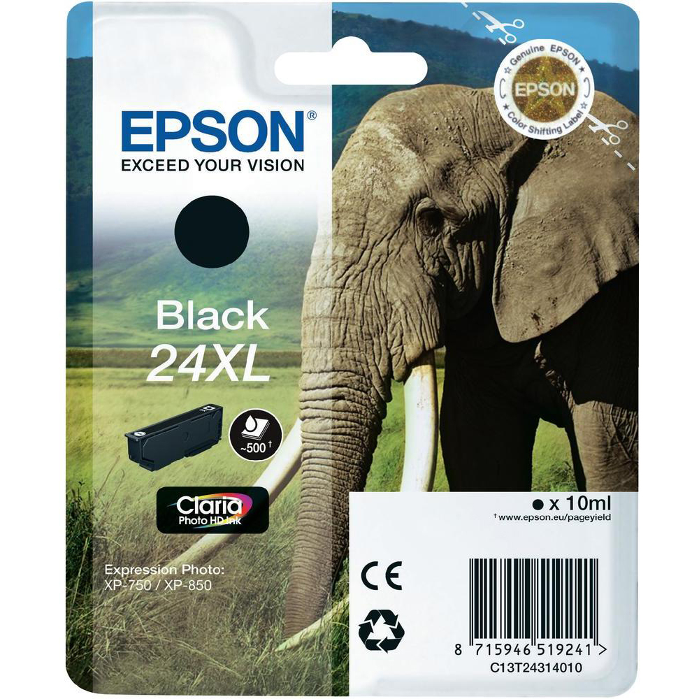Original Epson 24XL Black High Capacity Ink Cartridge (C13T24314010)