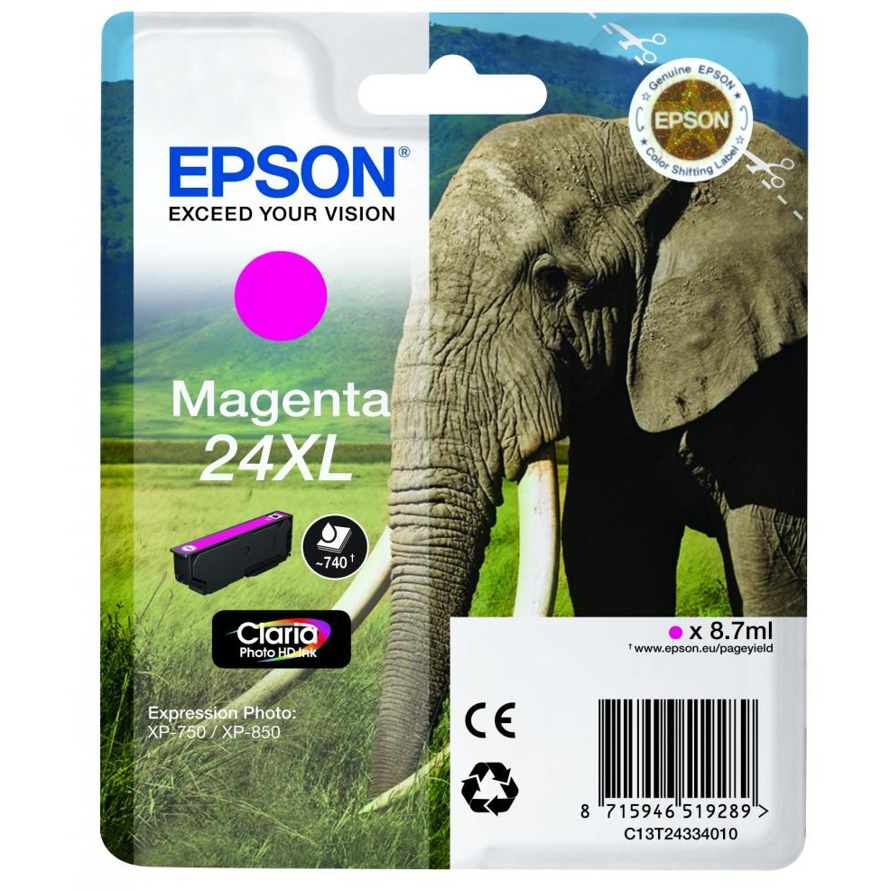 Original Epson 24XL Magenta High Capacity Ink Cartridge (C13T24334010)
