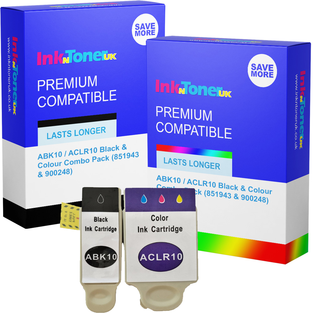 Premium Compatible Advent ABK10 / ACLR10 Black & Colour Combo Pack Ink Cartridges (851943 & 900248)