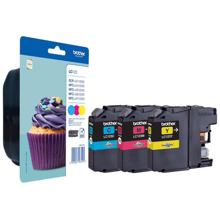 Original Brother LC123 Cyan Magenta Yellow Pack Ink Cartridges (LC123RBWBP)
