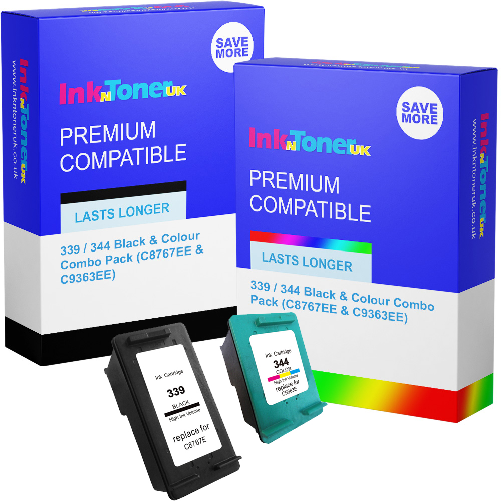 Premium Remanufactured HP 339 / 344 Black & Colour Combo Pack Ink Cartridges (C8767EE & C9363EE)