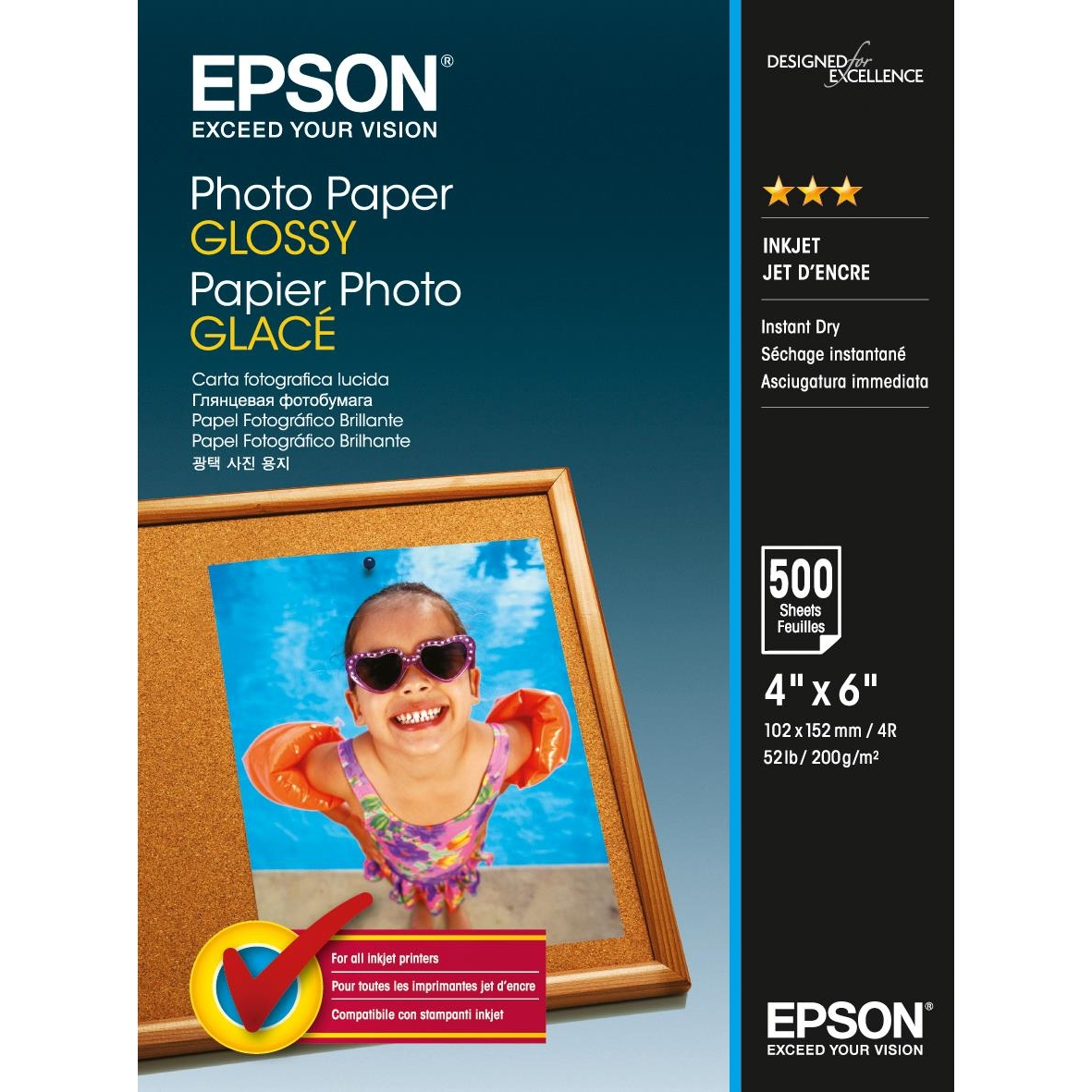 Original Epson S042549 200gsm A6 Photo Paper - 500 Sheets (C13S042549)