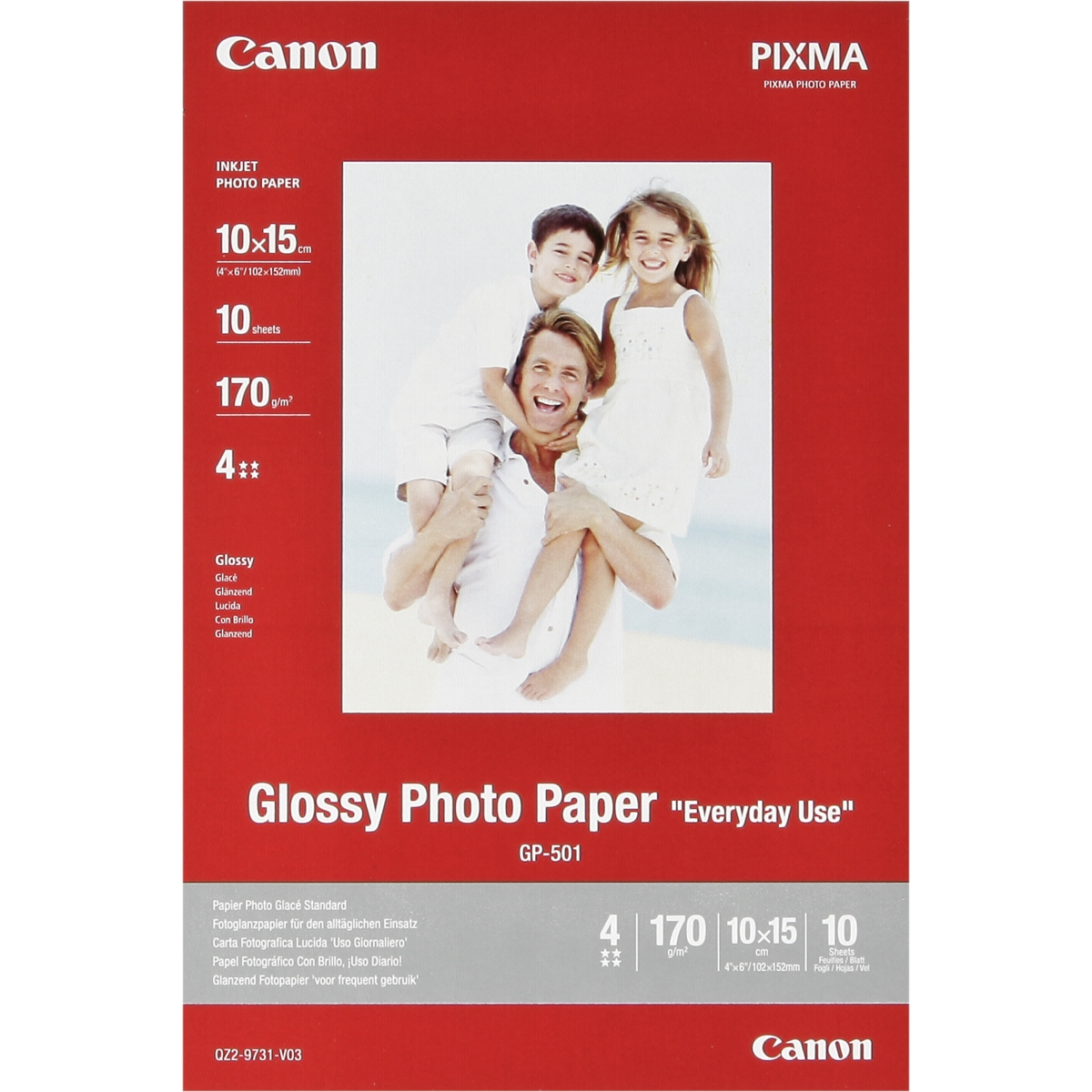 Original Canon GP-501 170gsm A6 Glossy Photo Paper - 10 Sheets (0775B005)