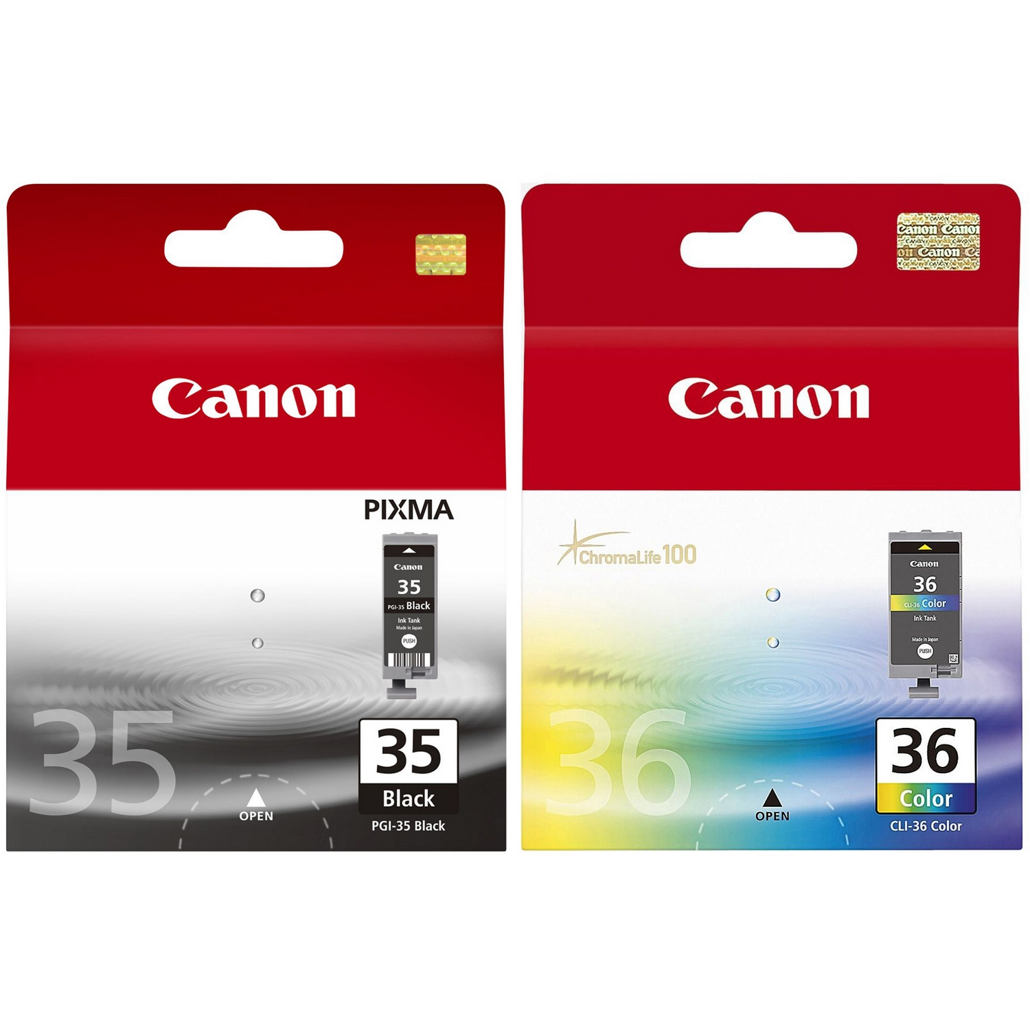 Original Canon PGI-35BK / CLI-36 Black & Colour Combo Pack Ink Cartridges (1509B001 & 1511B001)