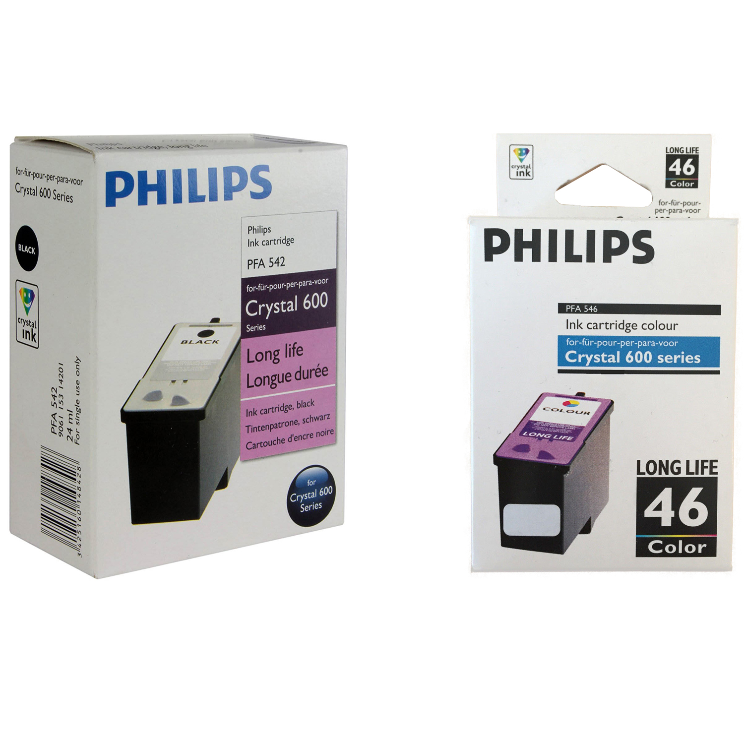Original Philips 42 / 46 Black & Colour Combo Pack High Capacity Ink Cartridges (PFA542 & PFA546)