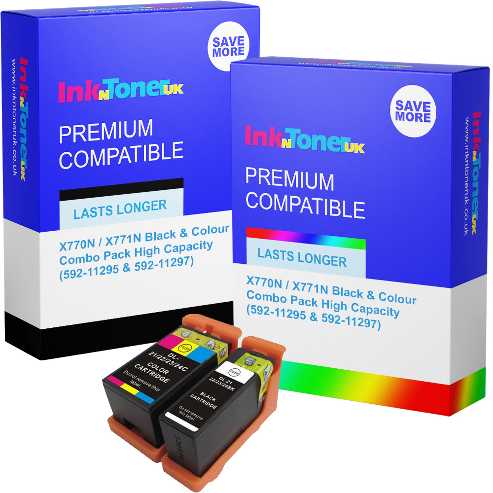 Premium Compatible Dell X770N / X771N Black & Colour Combo Pack High Capacity Ink Cartridges (592-11295 & 592-11297)
