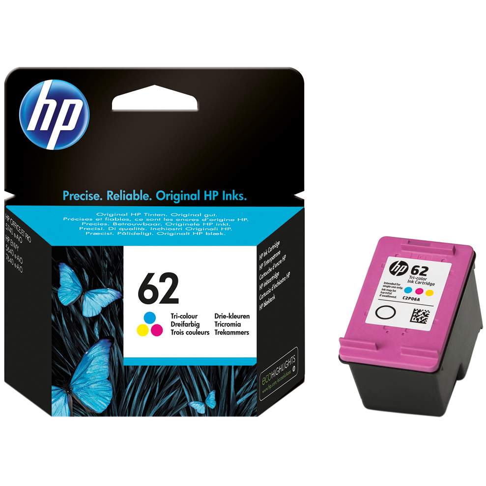 Original HP 62 Colour Ink Cartridge (C2P06AE)