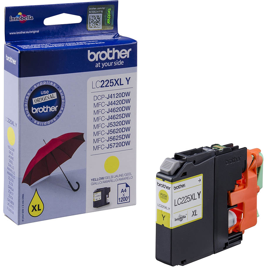 Original Brother LC225XL Yellow High Capacity Ink Cartridge (LC225XLY)