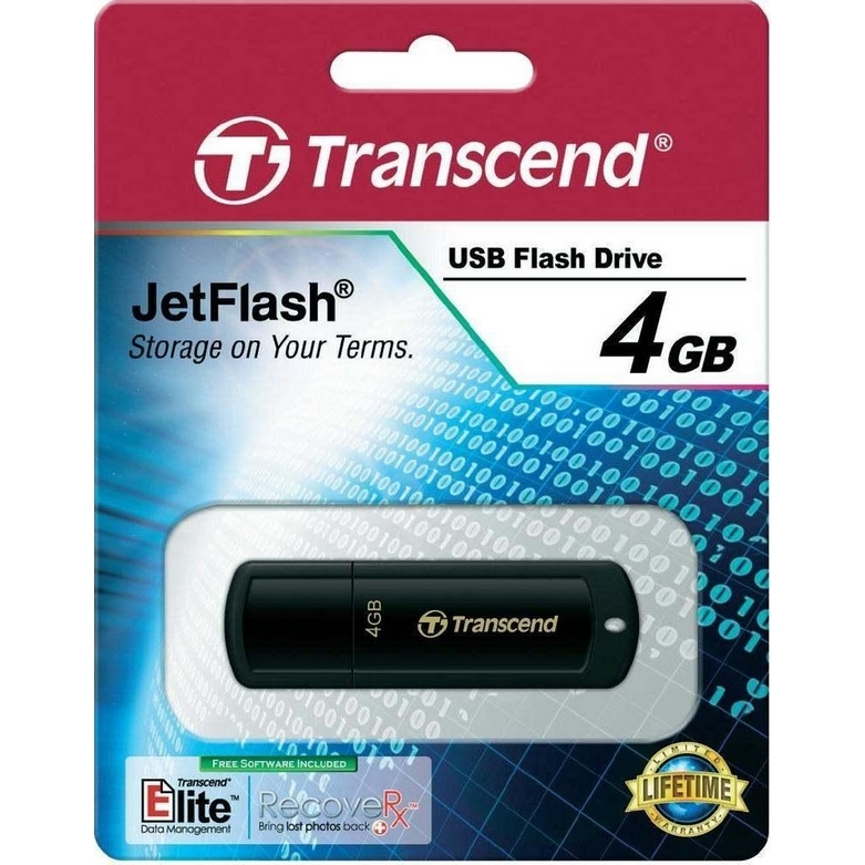 Original Transcend JetFlash 350 Black 4GB USB 2.0 Flash Drive (TS4GJF350)
