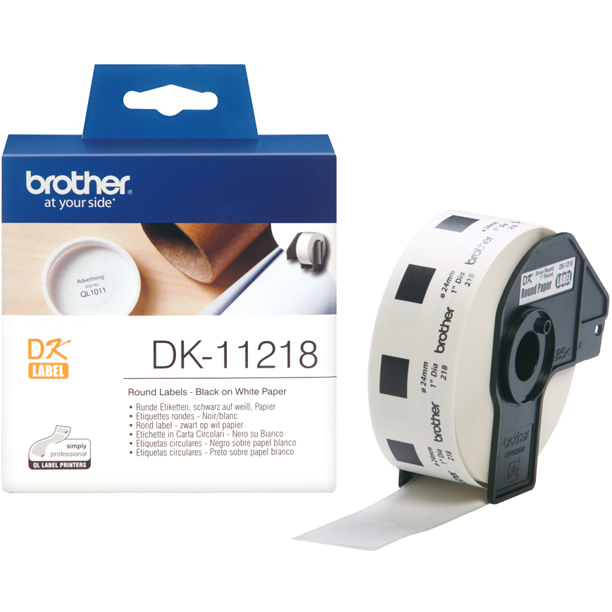 Original Brother DK-11218 Black On White 24mm 1in Diameter Round Label Tape - 1000 Labels (DK11218)