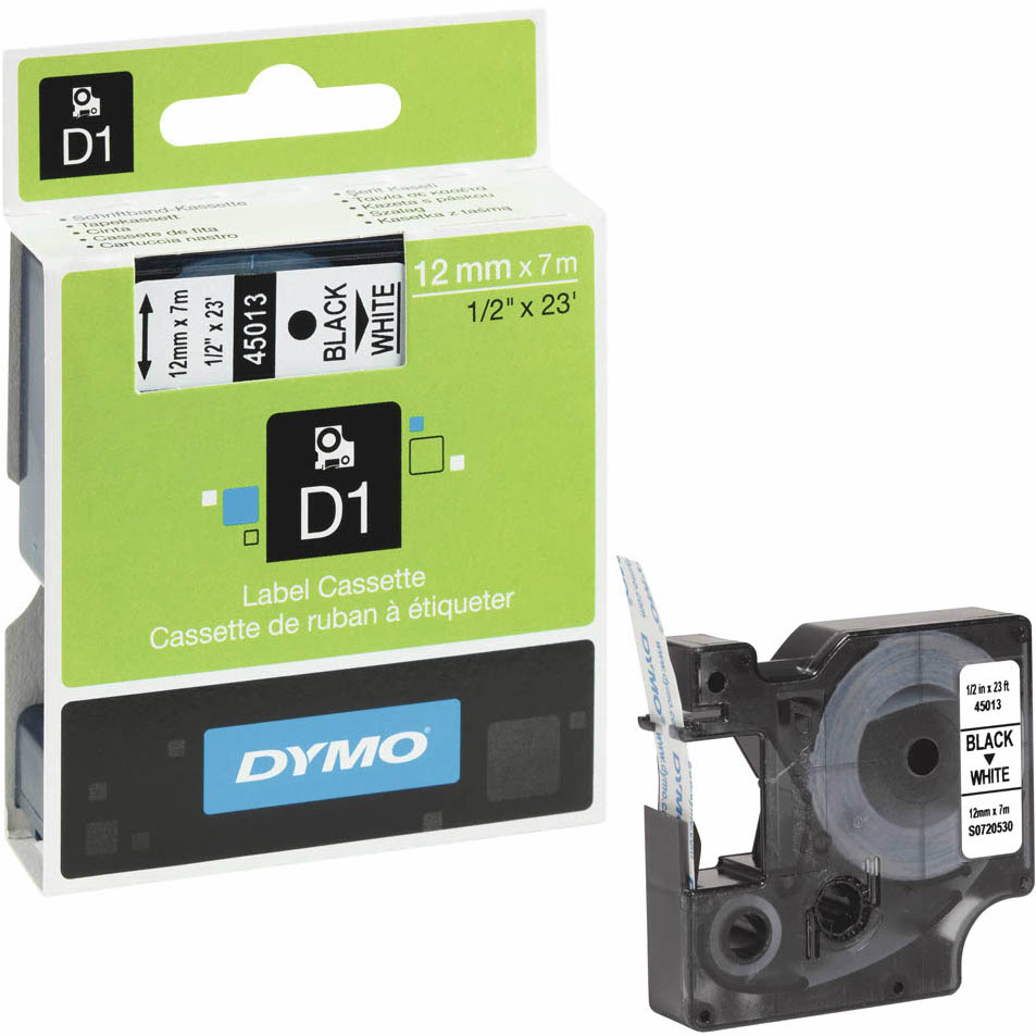 Original Dymo 45013 Black On White 12mm x 7m D1 Label Tape (S0720530)
