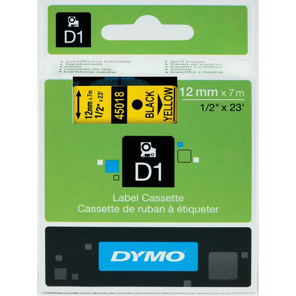Original Dymo 45018 Black On Yellow 12mm x 7m D1 Label Tape (S0720580)