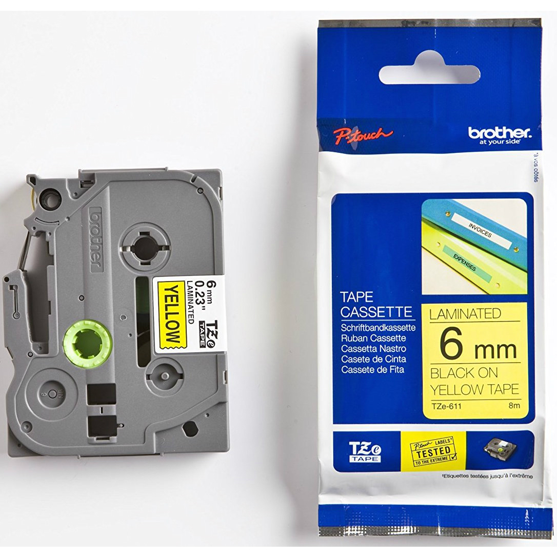 Original Brother TZe-611 Black On Yellow 6mm x 8m Laminated P-Touch Label Tape (TZE611)