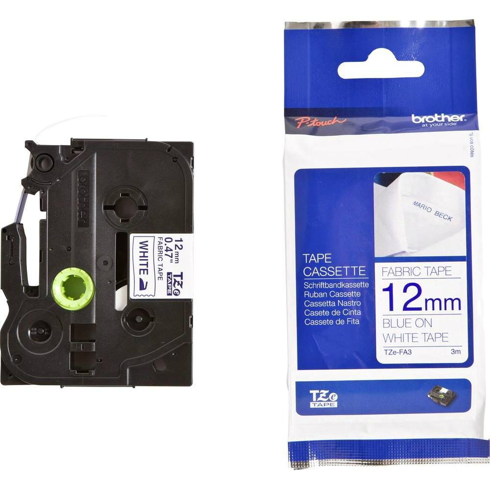 Original Brother TZe-FA3 Navy Blue On White 12mm x 3m Fabric P-Touch Label Tape (TZEFA3)