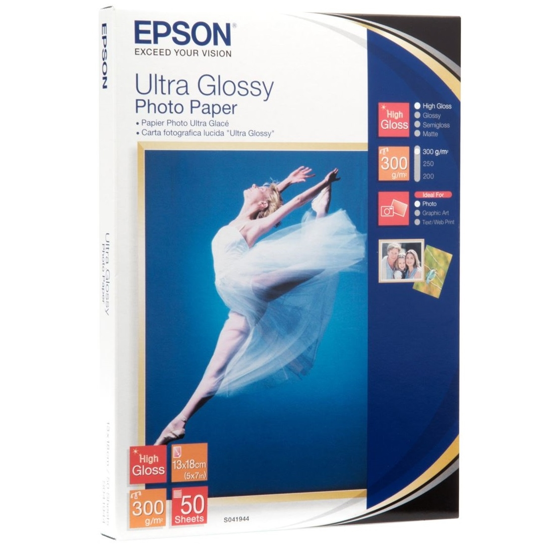 Original Epson S041944 300gsm 13 x 18cm Photo Paper - 50 Sheets (C13S041944)
