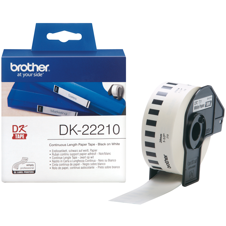 Original Brother DK-22210 Black On White 29mm x 30.48m Continuous Paper Label Tape (DK22210)