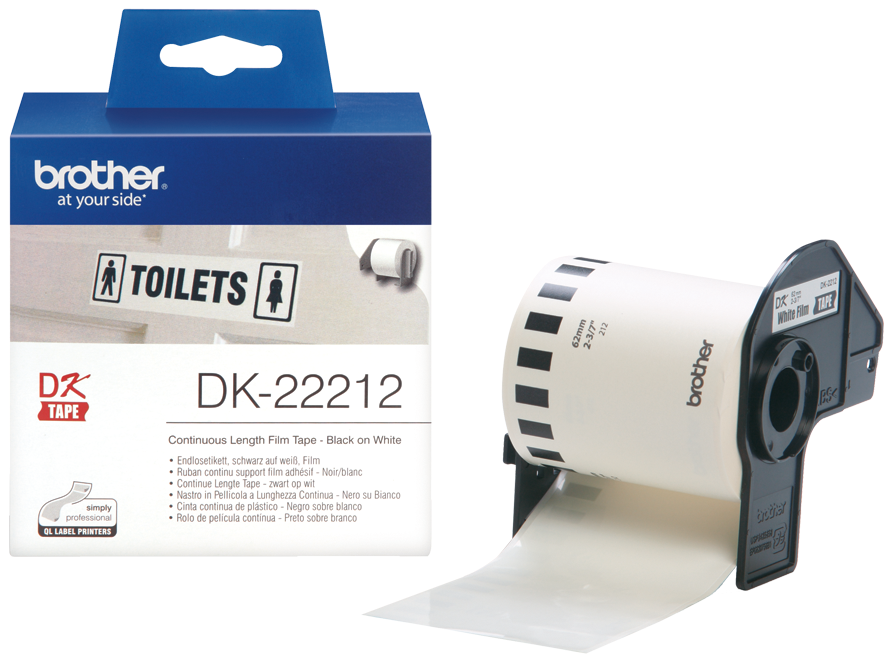 Original Brother DK-22212 Black On White 62mm x 15.24m Continuous White Film Label Tape (DK22212)