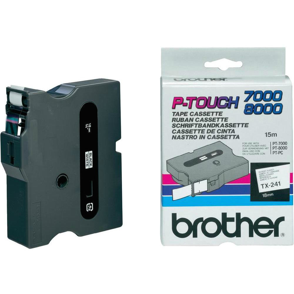 Original Brother TX-241 Black On White 18mm x 15m P-Touch Label Tape (TX241)