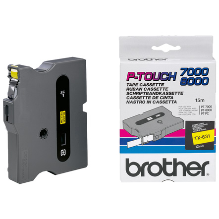 Original Brother TX-631 Black On Yellow 12mm x 15m Laminated P-Touch Label Tape (TX631)