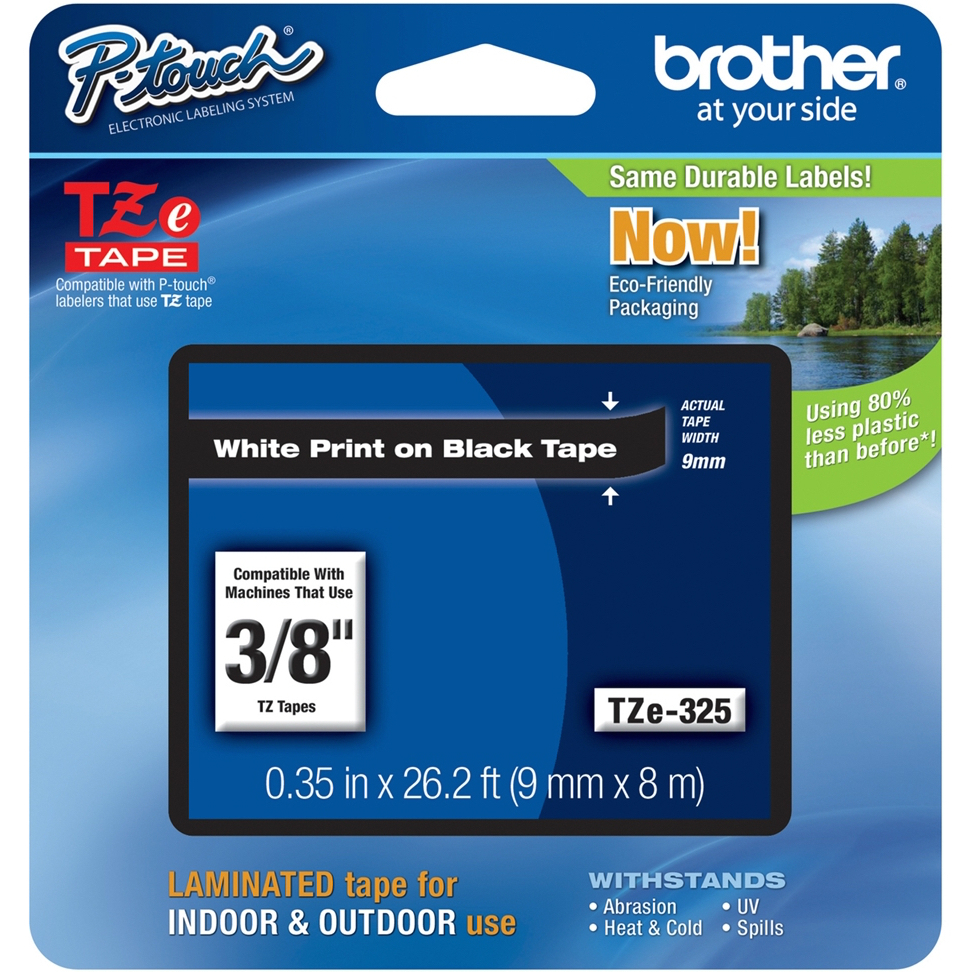 Original Brother TZe-325 White On Black 9mm x 8m Laminated P-Touch Label Tape (TZE325)