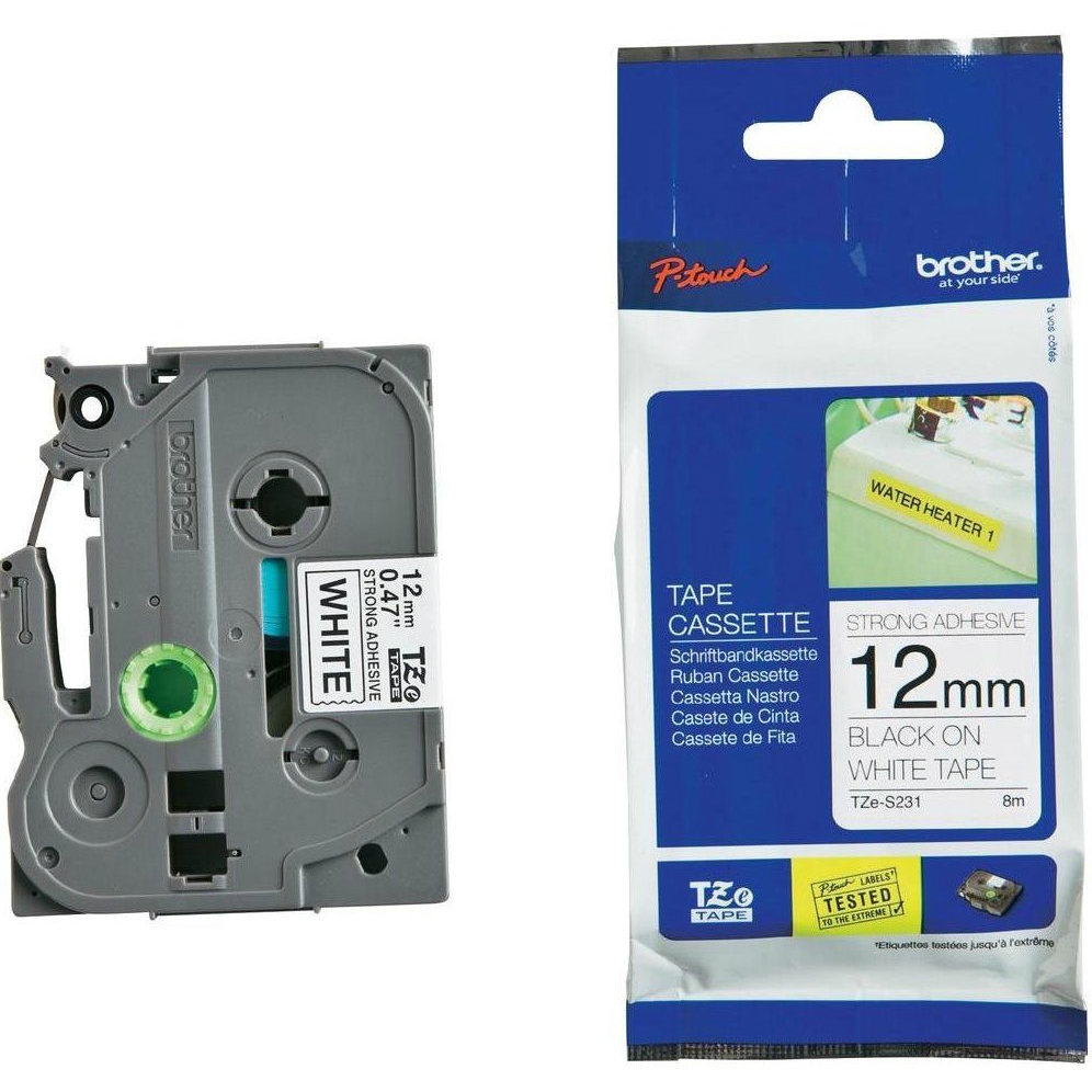 Original Brother TZe-S231 Black On White 12mm x 8m Strong Adhesive Laminated P-Touch Label Tape (TZES231)