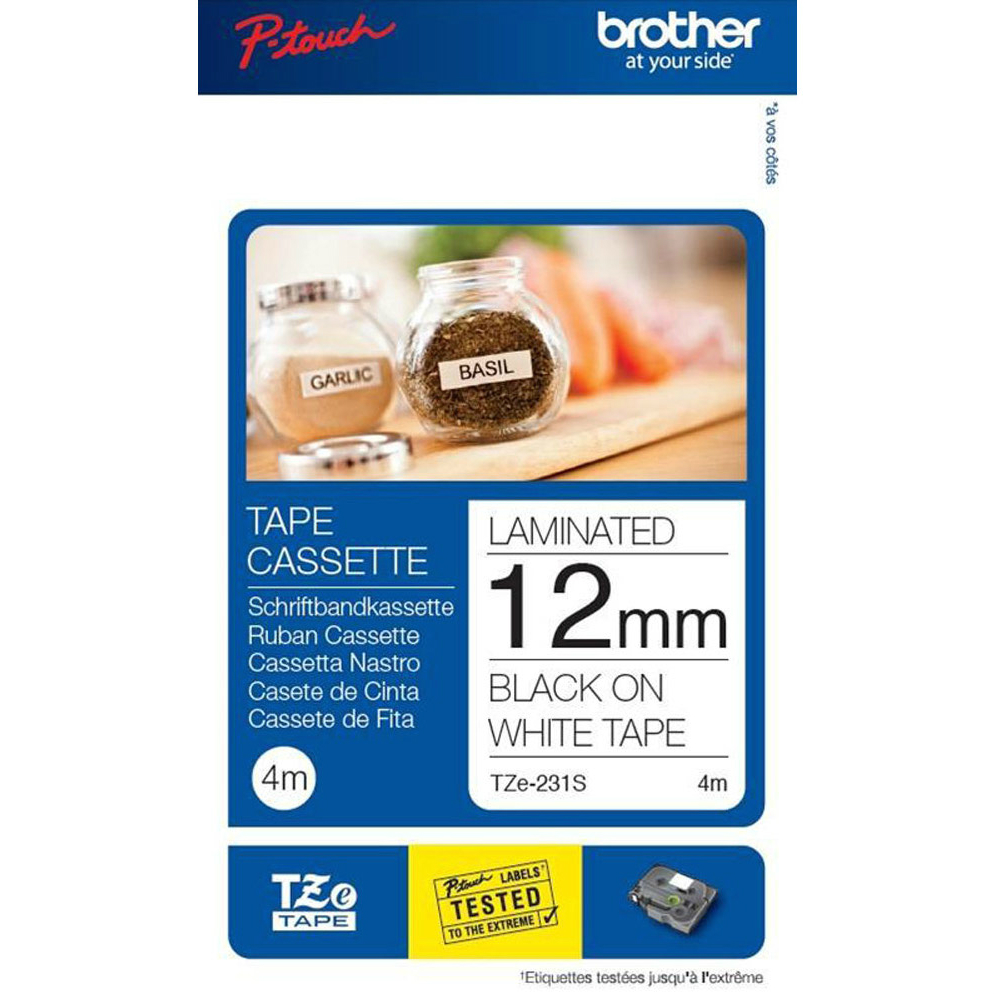 Original Brother TZE231S2 Black On White 12mm x 4m Laminated P-Touch Label Tape (TZE231S2)