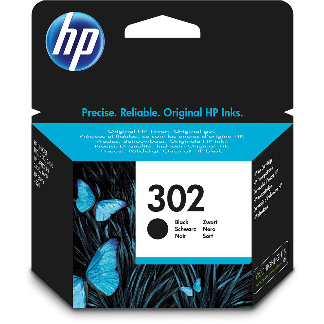 Original HP 302 Black Ink Cartridge (F6U66AE)